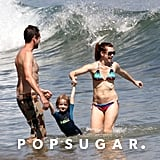 Alyson Hannigan played in the water with her family at the beach.