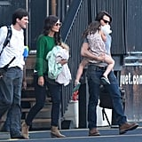 Tom, Katie, and Suri Cruise Helicopter Out of NYC