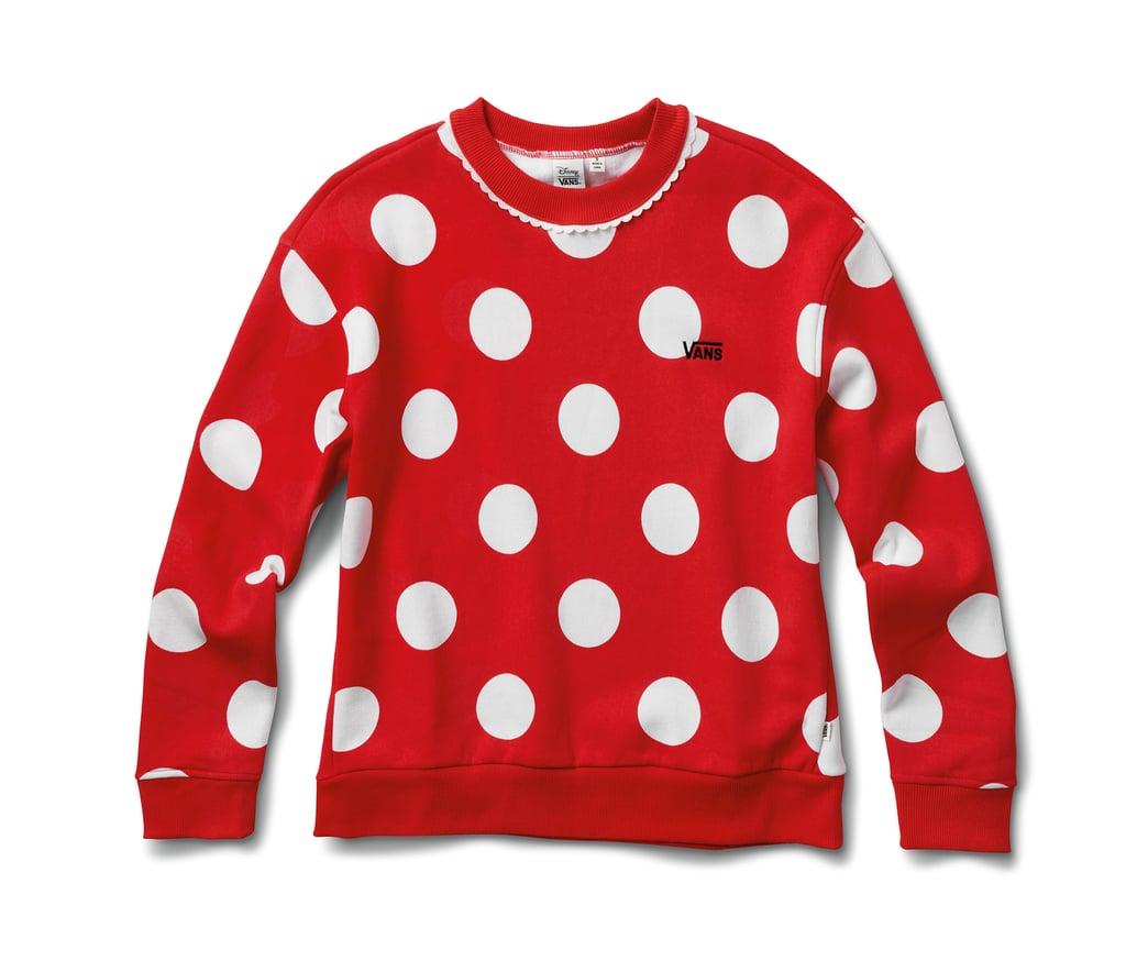 Disney x Vans Minnie Mouse Boxy Crew Sweatshirt in Racing Red
