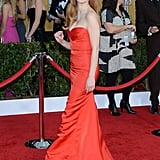 Jessica Chastain rivalled the red carpet in her bright gown at the SAG Awards on January 28.