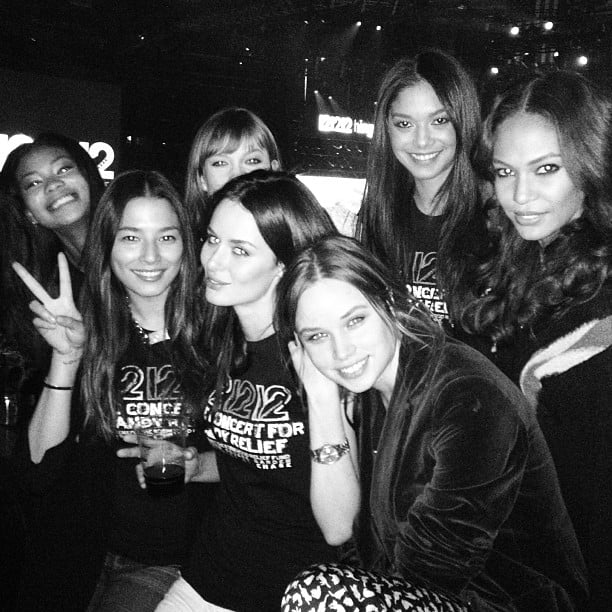 Jessica Gomes and Nicole Trunfio hung out with Karlie Kloss and Joan Smalls at the 12/12/12 concert. Source: Instagram user iamjessicagomes