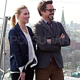 Scarlett Johansson and Robert Downey Jr. posed together for a photo.