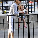 Sarah Jessica Parker had a day out with her daughters on the swings at the park in NYC.