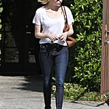 Emma Stone walked out of a hair salon in LA.