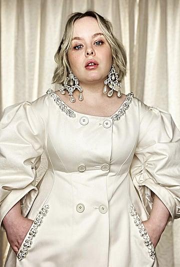 Nicola Coughlan's Simone Rocha Pearl Coat at Fashion Week