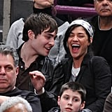 Ed Westwick and Jessica Szohr attended a Lakers vs. Knicks game at Madison Square Garden in February 2008.