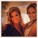 Charlotte Dawson and Delta Goodrem bumped into each other pre-opening ceremony. Source: Instagram user mscharlotted