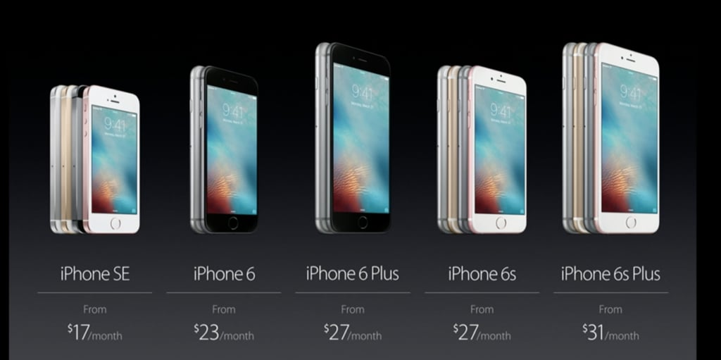 Here are the installment plans for each iPhone, with the iPhone SE beginning at $17 a month.