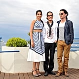 Freida Pinto posed with costars at the Desert Dancer photocall at the Cannes FIlm Festival.