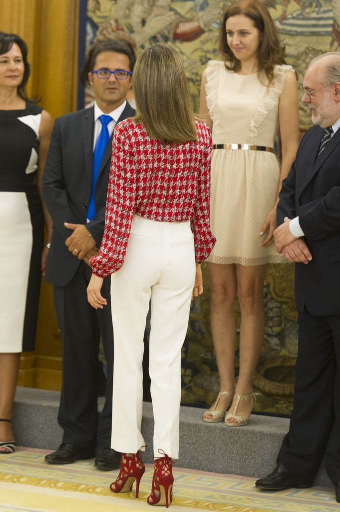 Queen Letizia Wearing Red and White September 2016