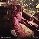 Jessica Biel looked like she was quite comfortable in her flannel pajamas. Source: jessicabiel on WhoSay