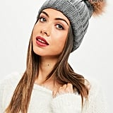 Missguided Gray Single Bobble Hat