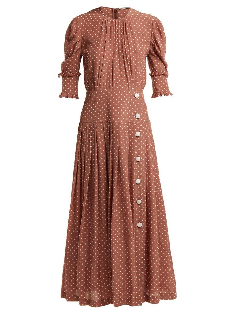 Alessandra Rich Polka Dot Print Pleated Silk Dress