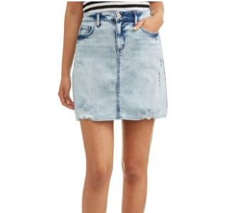 Ripped Hem A-Line Skirt