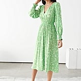 & Other Stories Pleated Smock Midi Dress