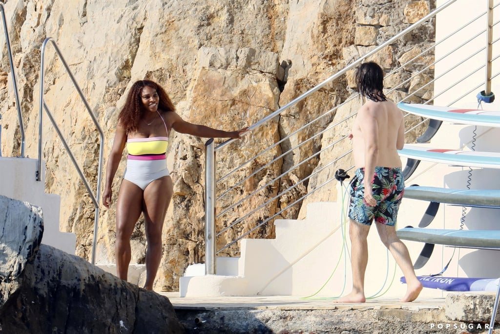 """After competing in the French Open, Serena Williams is enjoying some much deserved R&R in the South of France. On Saturday, the tennis pro was spotted soaking up the sun at Hotel du Cap-Eden-Roc with husband Alexis Ohanian, their 3-year-old daughter, Olympia, and a pal. The group took turns jumping from a diving board into the ocean and snapping photos together. Alexis also posted a picturesque snap of the incredible ocean view on his Instagram Stories. Serena and Alexis recently traveled to France so that she could compete in this year's French Open. Despite being a three-time French Open winner, Serena was eliminated in last week's fourth round by Elena Rybakina. Regardless of her loss, there's no denying that Serena is still the GOAT.       Related:                                                                                                           After Seeing Serena Williams's Daughter in a Mini Version of Her Australian Open Outfit, You'll Say """"Aww!"""""""