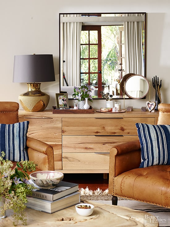 Natural Wood Furniture And Beachy Navy And White Accents