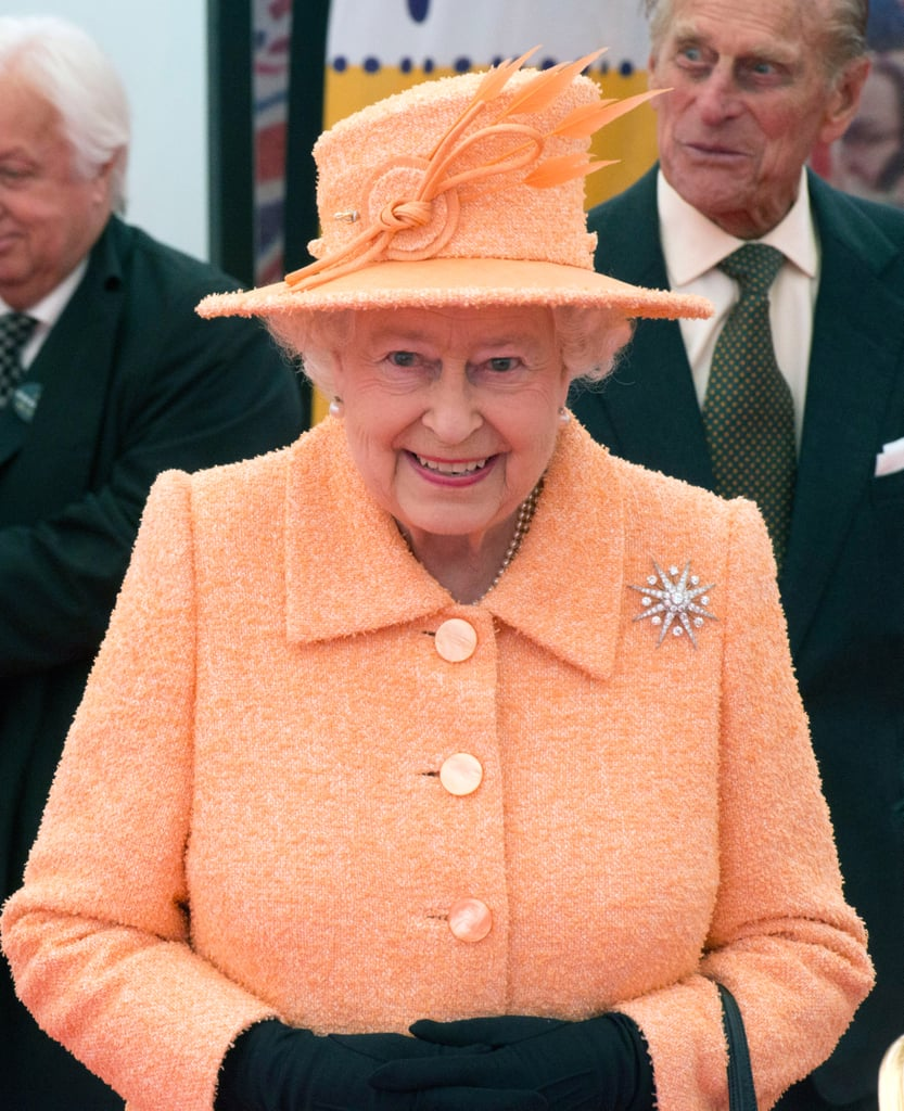 Queen Elizabeth II turned up the brights in matching sherbet orange pieces in July 2012.