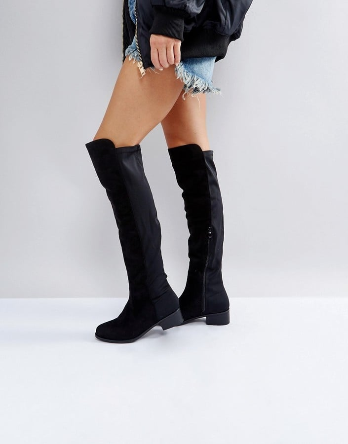 acda3e5291a Truffle Collection Elastic Flat Over-Knee Boots