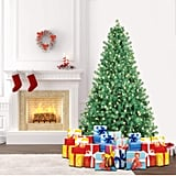 SHareconn 6.5ft Pre-Lit Premium Artificial Spruce Hinged Christmas Tree