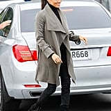 A Black Turtleneck, Jeans, Draped Coat, and Ankle Booties in New Zealand in October 2018