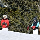 Carole Middleton and Pippa Middleton fixed their gloves before heading off down the mountain in France.