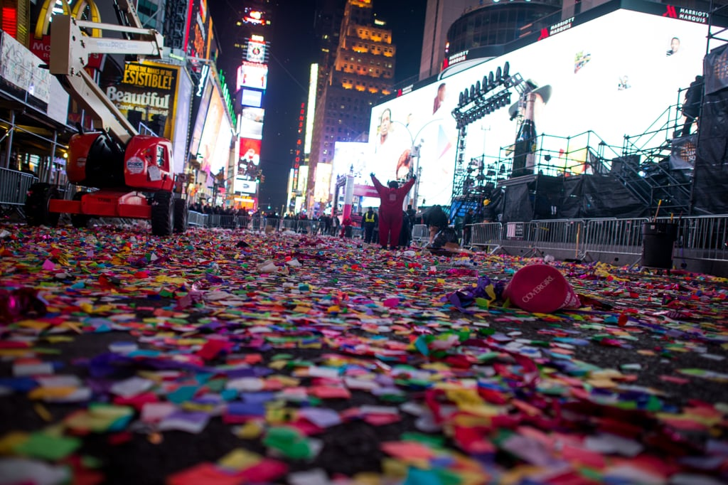 An emptied Times Square had only confetti to show for the big event after revellers left the area.