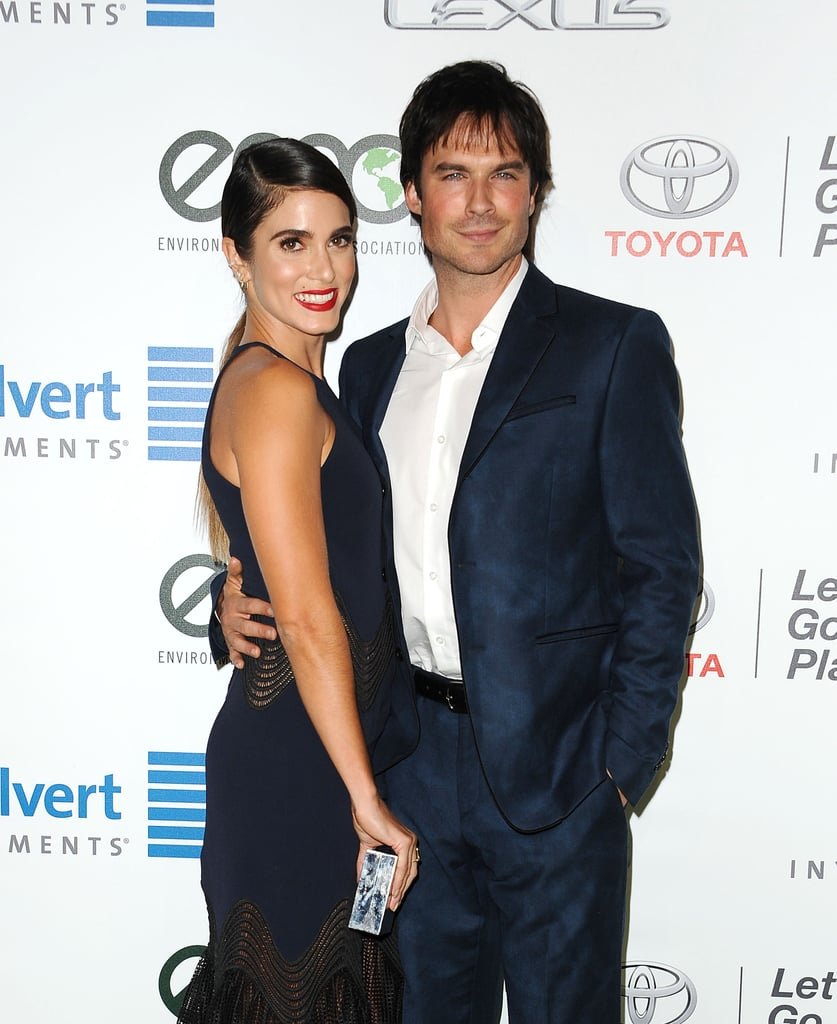 """Following the highly anticipated season eight premiere of The Vampire Diaries, Ian Somerhalder celebrated at Saturday's EMA Awards in LA with his lovely wife, Nikki Reed. The couple, who tied the knot in April 2015, arrived at the event, hosted by Nicole Richie, looking stylish and smiley. Ian looked handsome in a navy suit, while Nikki stunned in a navy dress. The ceremony also brought out the night's honoree, Jaden Smith, who was accompanied by his beautiful family.  During a Comic-Con panel back in July, Ian teased that Enzo and Damon will be doing """"some gnarly sh*t"""" on the new season of The Vampire Diaries. """"The mind-control thing is actually really interesting because ultimately you're used to seeing Damon or Enzo or any of these characters exert that power onto someone else. So when you see them in this realm where they literally have no control over their actions . . . in their minds they're still them, so there's that conflict and struggle."""" While Elena's return is still unclear, at least we have Damon and Enzo to comfort us.       Related:                                                                                                           Proof That Ian Somerhalder Just Keeps Getting Hotter"""