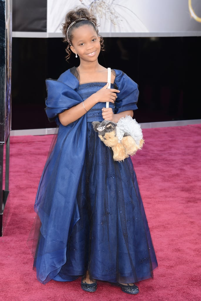 Quvenzhané Wallis showed off her puppy handbag on the Oscars red carpet.