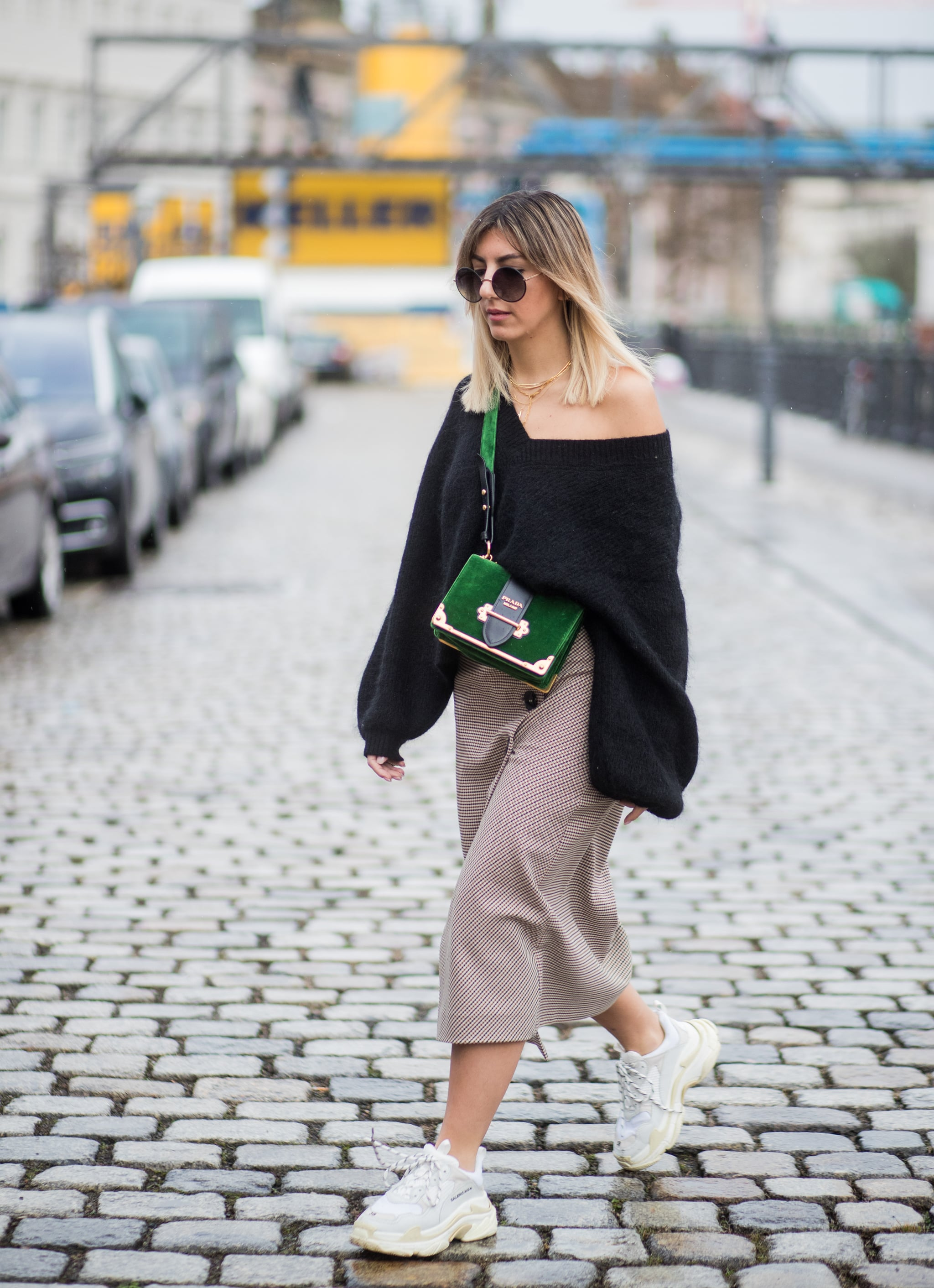 midi skirt and trainers