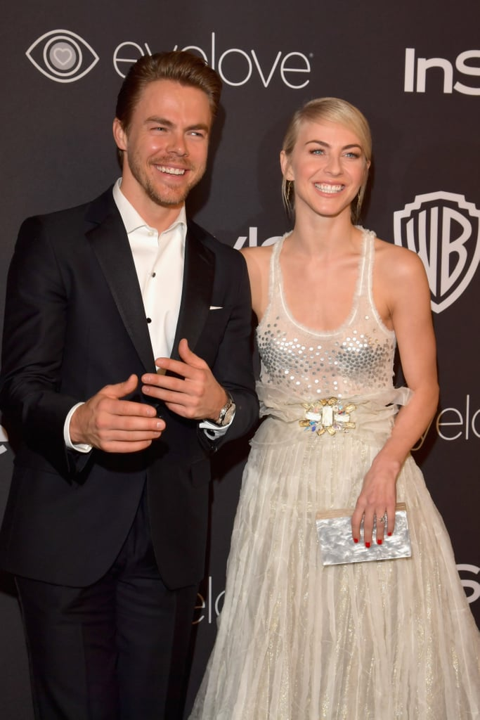 Derek and Julianne Hough brought their sweet sibling bond to the annual InStyle and Warner Bros. Golden Globes afterparty in Beverly Hills on Sunday. The duo shared a few laughs and had fun posing together on the red carpet. Also in attendance were Ian Somerhalder, Nikki Reed, and Julianne's BFF, Nina Dobrev. Derek and Julianne's fun outing comes two weeks after they spent the festive holidays skiing in their home state of Utah.