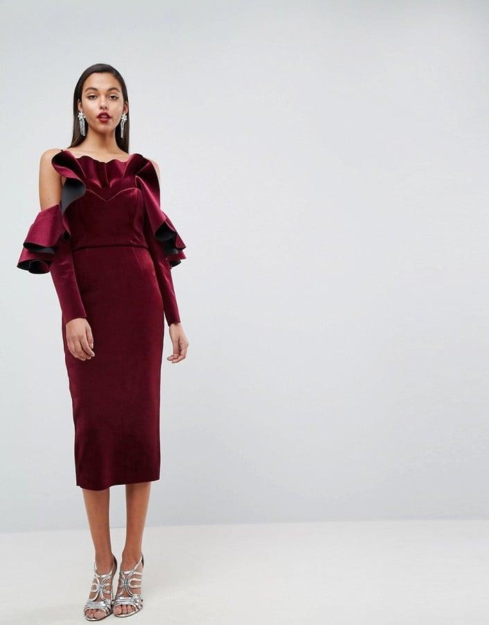 b2f55ef0b71 ASOS Edition Bonded Velvet Ruffle Long Sleeve Midi Dress