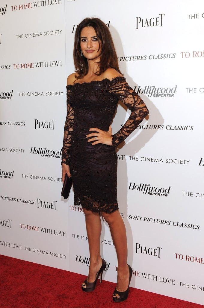 Penélope Cruz had a sexy moment on the red carpet for To Rome With Love in a lacy Pucci.