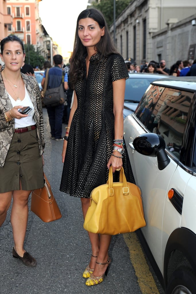 We love Giovanna Battaglia's black and yellow combo.