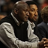 Michael Jordan and Scottie Pippen at a Charlotte Bobcats v Chicago Bulls Game in 2011