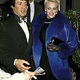 Sylvester Stallone and Brigitte Nielsen make a stylish couple at Billy Wilder's 1987 New Year's Eve party.