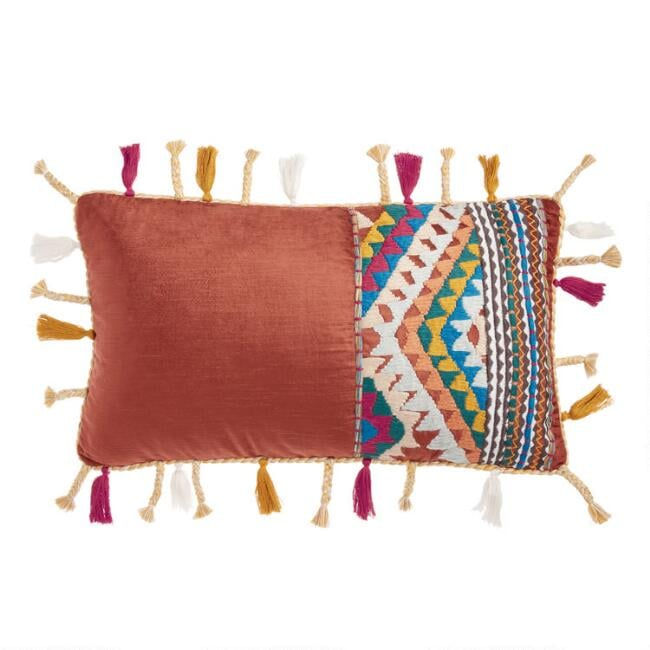 Rust Velvet Boho Lumbar Pillow