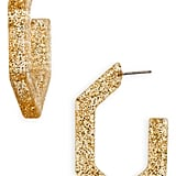 Madewell Glitter Oversize Geometric Hoop Earrings