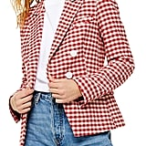 Topshop Check Double-Breasted Blazer