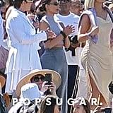 Kris Jenner, Kim Kardashian, and Khloé Kardashian at Kanye West's Easter Coachella Service