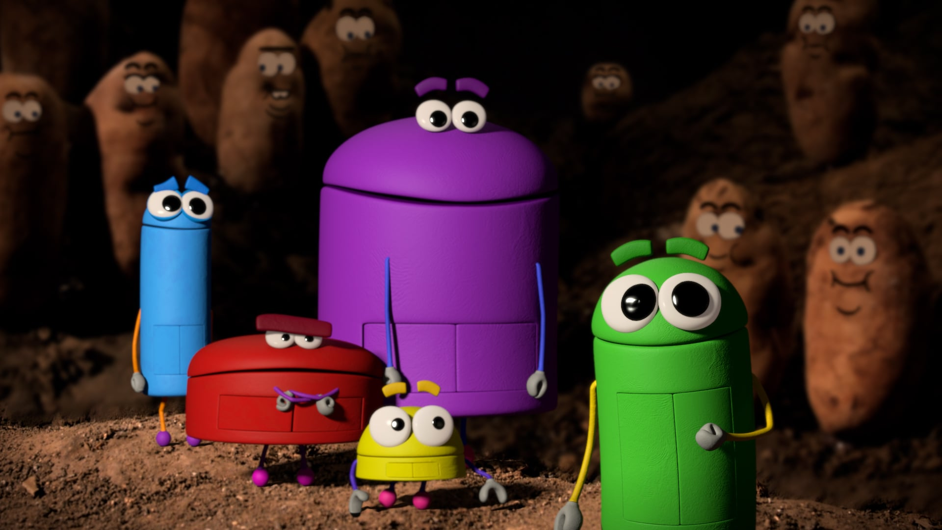 ASK THE STORYBOTS, (from left): Bang (voiced by Fred Tatasciore), Boop (voiced by Gregg Spiridellis), Bo (voiced by Erin Fitzgerald), Bing (voiced by Jeff Gill), Beep (voiced by Judy Greer), 'Where Do French Fries Come From?', (Season 1, ep. 105, aired Aug. 12, 2016). photo: Netflix / Courtesy: Everett Collection