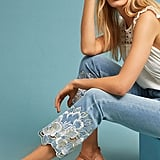 Pilcro's Embroidered High-Rise Cropped Bootcut Jeans ($126) were made for a girlie, down-to-earth girl.