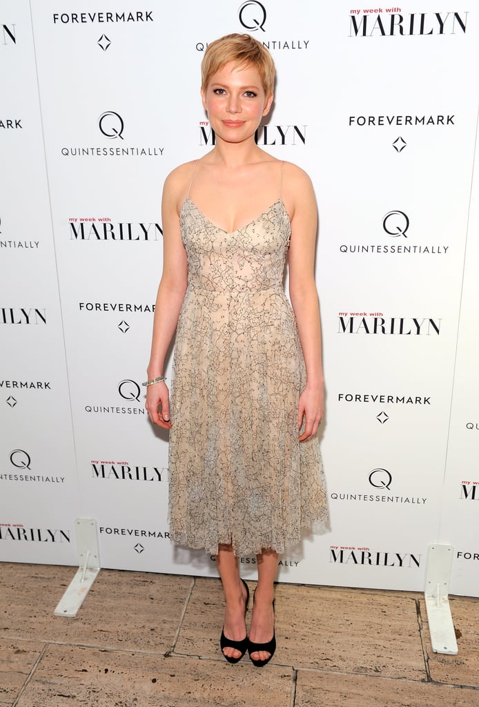 "Michelle Williams went with a delicate Erdem dress and Roger Vivier shoes for a screening of My Week With Marilyn in NYC on Sunday evening. She was joined by a few costars for the event, though all eyes were on Michelle on the red carpet and her embodiment of Marilyn Monroe in the film. Michelle debuted My Week With Marilyn in LA last weekend and she'll be making her promotional tour international when she is honored by Queen Elizabeth II at a special palace premiere.  Michelle recently spoke about what drew her to Marilyn, admitting that she knows she's not the only person drawn to the icon. Michelle said of Marilyn, ""I have always been drawn to Marilyn, but that doesn't make me special in any way. She has that magnetism and that draw for so many people, so I read about her when I was young, devouring biographies. I'm most interested in her life before she became Marilyn. For me, the interest wasn't so much in this larger-than-life personality."" My Week With Marilyn comes out Nov. 23 and get in on the excitement by entering TresSugar's $1,000 Tiffany's gift certificate and Chanel No. 5 giveaway for the movie."