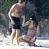 Pregnant Carla Bruni in a Bikini on the Beach With Nicolas Sarkozy