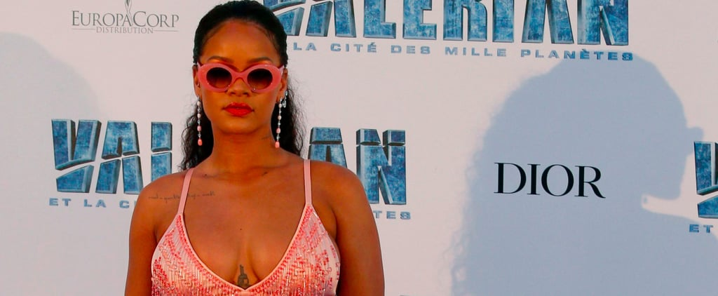Rihanna Covered Herself in Nothing but Pink Feathers and Beads