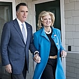 The Romneys stayed close together leaving the poll center.