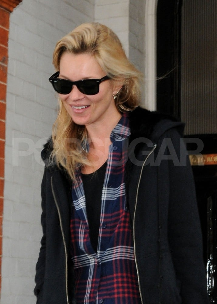 Kate Moss leaving the dentist in London.