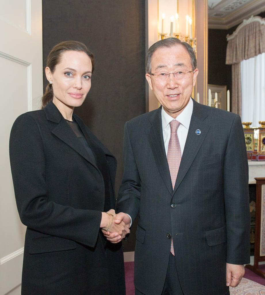 Angelina Jolie Wearing a Black Jacket April 2016