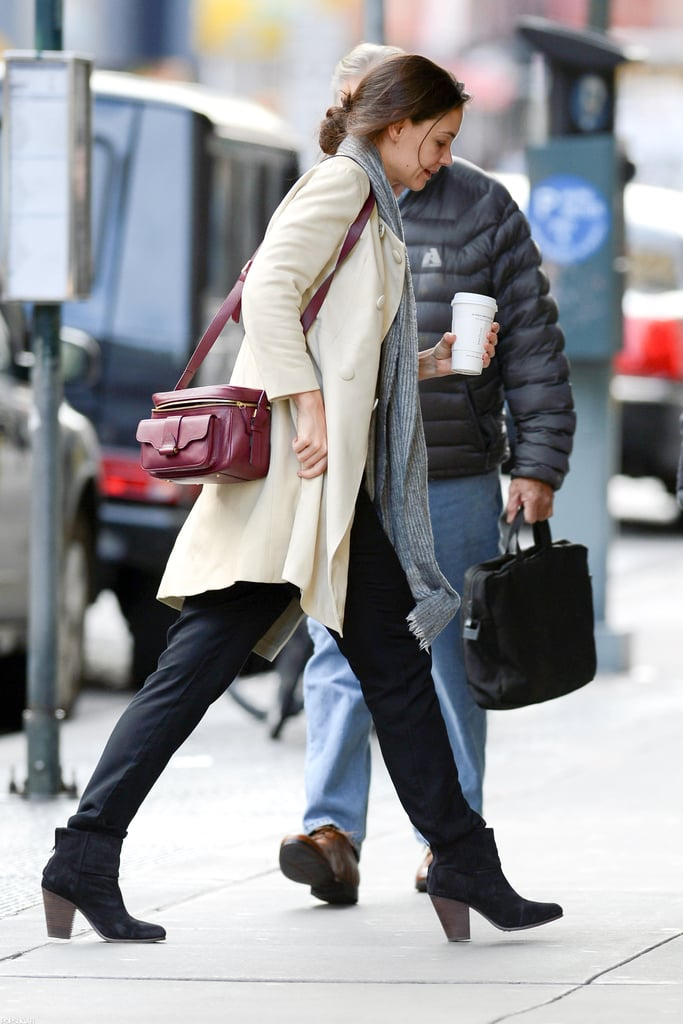 Katie Holmes was out in NYC yesterday after a late night at work on Monday. The actress bundled up in a coat and grabbed a cup of coffee to go as she set out in the city. Monday evening, Katie was back on the Broadway stage for the first time in several years, acting in the first preview performance of Dead Accounts. Katie earned a round of applause several times during the debut run of the upcoming play, and if she had any nerves about her return to comedy, she kept them well hid. Katie didn't even get flustered when a telephone she was using in one scene broke, instead keeping calm —and in character — as she fixed the mangled prop. Dead Accounts officially opens at Music Box Theatre in Manhattan on Nov. 29.