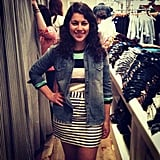 BuzzSugar's Becky Kirsch styled stripes-on-stripes-on-denim at the Madewell SF shindig.